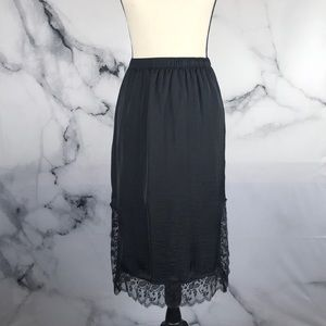 Who What Wear black silky lace slip skirt